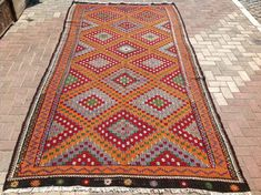 Large area rug , Faded orange Kilim rug, Vintage Turkish kilim rug, kilim, rug, vintage rug, Turkish rug, rug, tribal rug, authentic rug,405