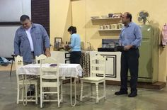 John, Cindy and Paul (Tom, Janey and Sam) ... Dress rehearsal in the warehouse ... A Catered Affair ... #mta2015