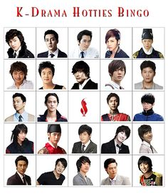 K-Drama Hotties Bingo... I remember when I saw this and only knew two of the guys. Now I know ALL of them!