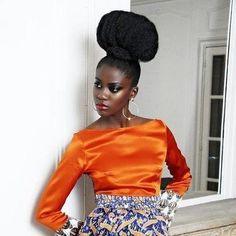 Natural Hair High puff and tangerine silk shirt!