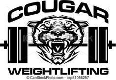 Vector - cougar weightlifting - stock illustration, royalty free illustrations, stock clip art icon, stock clipart icons, logo, line art, EPS picture, pictures, graphic, graphics, drawing, drawings, vector image, artwork, EPS vector art