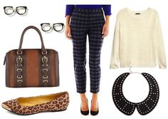 For a geek chic daytime look, let the pants be the star of the ensemble by pairing them with a light, cream-colored sweater for those chilly September mornings.