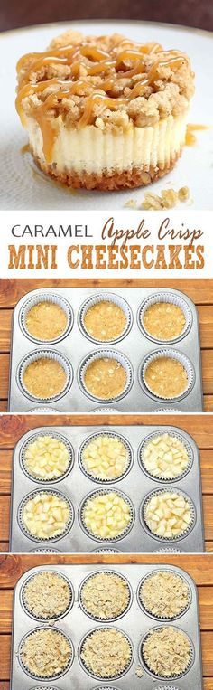 All of the sweet and caramely goodness of a traditional apple crisp, baked on graham cracker crust cheesecake packed into perfect portable fall dessert – Caramel Apple Crisp Mini Cheesecakes. (mini apple pies bites)