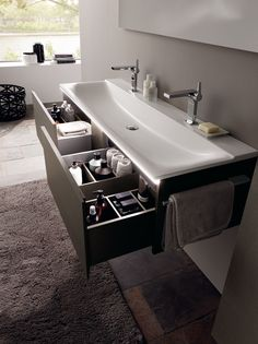 Choose The Latest Modern Sink Collection Of The Highest Quality For Your Home's Main Bathroom is part of Bathroom sink design - Choose The Latest Modern Sink Collection Of The Highest Quality For Your Home's Main Bathroom Floating Bathroom Sink, Bathroom Sink Design, Bathroom Renos, Bathroom Interior Design, Master Bathroom, Bathroom Ideas, Bathroom Cabinets, Bathroom Storage, Trough Sink Bathroom