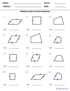 Identifying Quadrilaterals Worksheet Answers - Geometry Worksheets Geometry Worksheets Quadrilaterals Geometry Worksheets Quadrilaterals And Polygons Worksheets Grade 6 Geometry Worksheets Free Pri. Geometry Worksheets, Worksheets For Kids, Math Worksheets, Printable Worksheets, Animal Worksheets, Free Printable, Geometry Practice, Teaching Geometry, Teaching Math