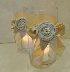 Rag Flowers & Fabric Ribbons - last minute centerpieces