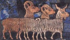 Three goats being led to sacrifice during the victory procession shown on the Standard of Ur.  An artistic touch is added by making the bodies of the goats blend together. This was a common motif in Mesopotamian art, as seen on a Sumerian plaque from the city of Shuruppak and on an Akkadian cylinder seal.
