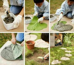 DIY  stepping stones from elephant ears