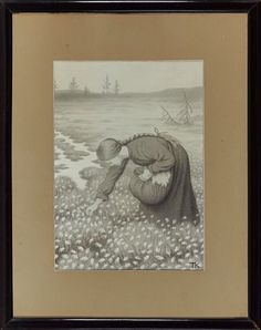 "THEODOR KITTELSEN KRAGERØ 1857 - JELØY 1914  IIlustrasjon to Asbjørnsen and Moe, ""The Twelve Vildænder ...""  Pencil on paper pasted on board, 29x20,5 (L)  Initial Signed lower right: TK Art"