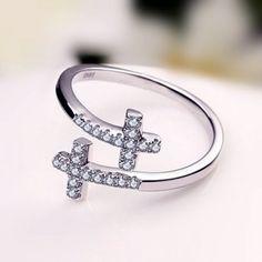 2016 New Trendy Bling Cross Silver Adjustable Ring Birthday Present