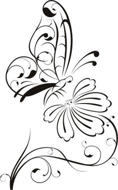 Details about Butterfly on Flower Outline Floral Wall Decal Wall Stickers Transfers Flower Outline D Butterfly On Flower, Flower Outline, Butterfly Stencil, Butterfly Images Clip Art, Flower Stencils, Butterfly Design, Wood Burning Patterns, Wood Burning Art, Outline Drawings