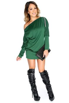Sexy Hunter Green Off Shoulders Long Sleeve Short Party Dress