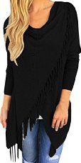 Women's Long Sleeve BLACK Knitted Cardigan Tassels Loose Sweater Material: Cotton,Spandex Condition: New Available Sizes: Available Colors: Black Fringe Coats, Wrap Cardigan, Poncho Coat, Casual Tops For Women, Loose Sweater, Fashion Fabric, Style Fashion, Black Knit, Lingerie Set