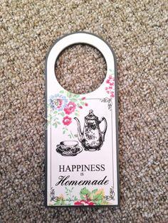 vtg shabby chic floral Cath Kidston wooden happiness homemade door hanger decor ( FOR MUM!!)