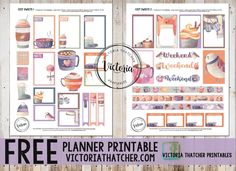 Free Printable Cozy Sweets Planner Stickers x from Victoria Thatcher - Site Title To Do Planner, Free Planner, Happy Planner, Planner Ideas, Victoria Thatcher, Planner Organization, Organizing, Printable Planner Stickers, Bullet Journal