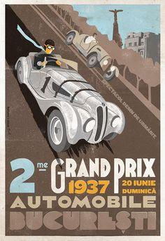 Grand Prix Automobile Bucuresti, Ernst Henne, BMW 328, 1937, Romanian Vintage Poster.
