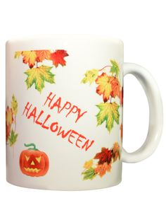 You don't have to be a kid to like Halloween! Cheerful and scary Jack-o-Lanterns are sure to bring a smile. Ceramic, 11 oz.