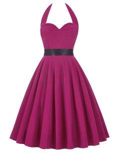 50s Vintage Dress Sweetheart Backless Halter Skater Dress Robe Sleeveless 1950s Pinup Retro Rockabilly Audrey Hepburn Dress 2016