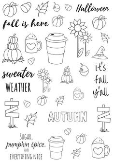 Printable Fall Planner Stickers | Bullet Journal | Printables | Planner Stickers | Fall Decor | Fall is here | Sweater Weather | Printable Stickers | Planner | Notebook