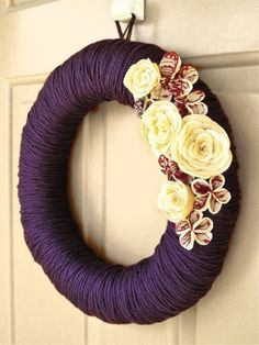 Deep Purple Yarn Wreath with Lace and Felt Flowers — this is so pretty, there's nowhere to hang it, but the COLORS! Love it.