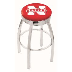 Nebraska Cornhuskers Ribbed Chrome Swivel Bar Stool