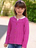 """Cardiganen er også sød i pink. Her er den strikket efter nøjagtig samme opskrift som den grønne, men i """"Vidal Alpaca"""" pink nr. 9130"""