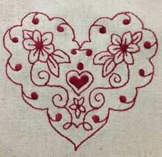 Red work 4 Embroidery Hearts, Cross Stitch Embroidery, Embroidery Patterns, Hand Embroidery, Quilt Patterns, Machine Embroidery, Stitch Patterns, Creative Embroidery, Love Valentines