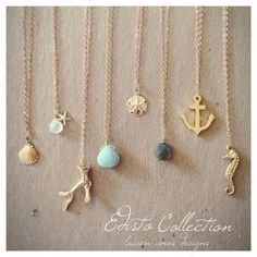 Beachy Chic! Dainty necklaces from the Edisto Collection by Lauren Amos Designs.       Makes me feel home