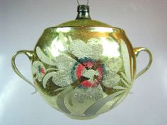 Vintage Golden Pot Urn Vase German Mercury Glass Christmas Ornament