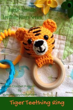 Tiger Teether Ring Baby Rattle Free Crochet Pattern The Tiger Teething Ring is a fun and simple crochet amigurumi pattern … Crochet Baby Blanket Beginner, Crochet Baby Toys, Crochet Baby Booties, Crochet Gifts, Crochet For Kids, Free Crochet, Simple Crochet, Easy Crochet Patterns, Amigurumi Patterns