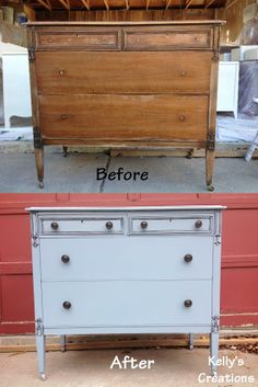 Cornflower blue vintage dresser with black antiquing before and after pictures. Refinished by Kelly's Creations. https://www.facebook.com/pages/Kellys-Creations-Refinished-Furniture/524028237619793