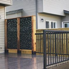 Laser cut privacy screens for interior/exterior use. Add a modern flair to your space while providing privacy around your backyard or deck. Made from high-quality aluminium and a UV protected powder coat, they're built to last. Privacy Screen Outdoor, Outdoor Pergola, Outdoor Decor, Deck Privacy Screens, Privacy Planter, Gazebo, Privacy Fence Designs, Privacy Fences, Decks With Privacy Walls