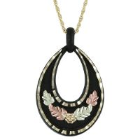 Possible bridesmaid gift  Black Hills Gold by Coleman Black Coated Gold Leaf Necklace on Gold 18 inch Chain