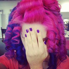 These bright pink and dark purple barrel curls are amazing!!!! Love love love!!!!