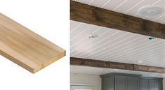 Adding Wood Beams to Your Home on a Budget - Mobile Home Repair Mobile Home Bathrooms, Mobile Home Kitchens, Home Remodeling Diy, Remodeling Mobile Homes, Home Decor Items, Cheap Home Decor, Mobile Home Repair, Bathroom Repair, Mobile Home Makeovers