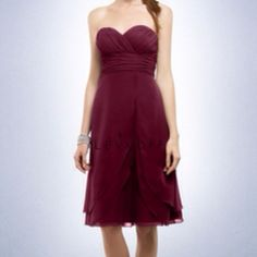 """Bill Levkoff bridesmaids dresses in the color """"wine"""". These would look so good on both Kaitlyn and Mishka. :)"""