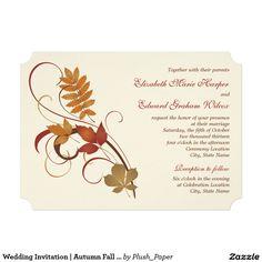 AUTUMN FOLIAGE TIERED WEDDING INVITATIONS RUSTIC AUTUMNAL FALL LEAF INVITES