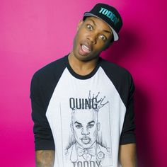 Baseball Tee with Quing Toddy Sketch on front and Shiz Majesty printed on back. Artwork by Toby Page Todrick Hall, Trevor Moran, Disney Divas, Ricky Dillon, Keyshia Cole, Brent Rivera, Joey Graceffa, Shane Dawson, Hollywood Fashion