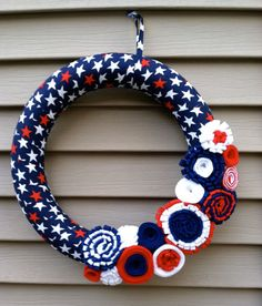 Patriotic Wreath. Wrapped in Red,White, & Blue Star Fabric w/ felt flowers. 4th of July Wreath - July 4th Wreath - Patriotic Wreath via Etsy