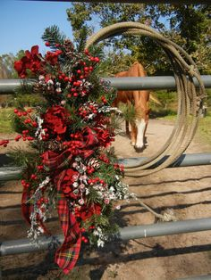 Christmas Wreath , Wreath for Door , Winter Wreath , Cowboy Country    Many a steer has this rope seen, but it's not retired yet. Filled with an