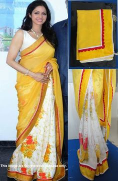 Designer Georgette Yellow and White Bollywood Saree Bollywood Sarees Online, Bollywood Fashion, Bollywood Style, Yellow Marble, Beautiful Bride, Chiffon, Sari, How To Wear, Brides