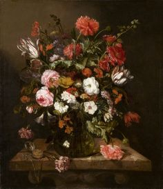 Abraham Van Beyeren's Flower Still Life with a Timepiece (ca. Unlike other Dutch painters whose still life flowers were perfect, this artist's were more casual. And in the glass vase, you can see the reflection of his studio window. Canvas Paper, Oil On Canvas, Canvas Prints, Art Floral, Dutch Still Life, La Haye, Baroque Painting, Baroque Art, Dutch Artists