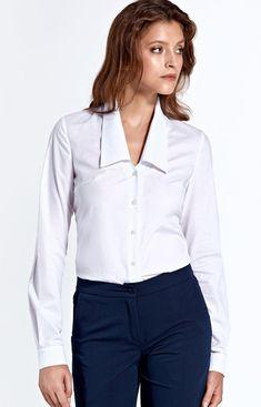 Nife Klasyczna koszula z kołnierzem ck02 Buttons, Tops, Women, Fashion, Moda, Fashion Styles, Fashion Illustrations, Plugs, Woman