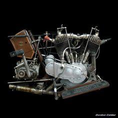 "No 85: VINTAGE HARLEY DAVIDSON ""F-HEAD"" V TWIN ENGINE (1917)   by Gordon Calder"