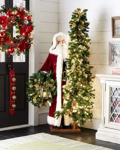 Ditz Designs By The Hen House Victorian Season Father Christmas with Tree & Wreath Christmas Wreaths With Lights, Christmas Porch, Outdoor Christmas Decorations, Christmas Holidays, Christmas Crafts, Xmas, White Christmas, Christmas Centrepieces, Christmas Ideas