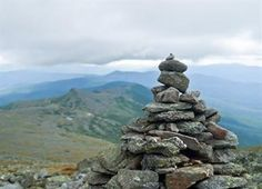 These rock piles identify the route above treeline and where snow and fog may obscure paints blazes.