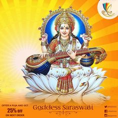 #Saraswati is the goddess of knowledge, music, arts, wisdom and learning.