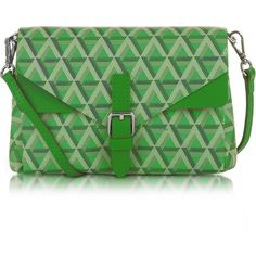 Lancaster Paris Handbags Ikon Coated Canvas and Leather Mini Clutch (5.795 RUB) ❤ liked on Polyvore featuring bags, handbags, clutches, green, leather purses, handbags crossbody, green leather purse, leather man bags and mini crossbody purse