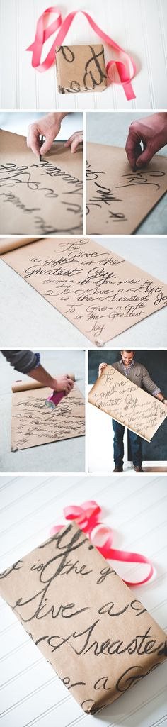 Hand-lettered wrapping paper.