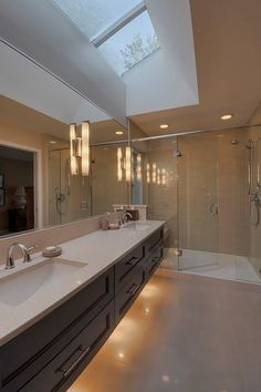 Fancy Overhead Bathroom Lighting Views: Amazing Contemporary Bathroom Design With Cool Overhead Bathroom Lighting And Nice White Vanity Unit With Sink And Drawer Also Cool Glass Shower Tray And Cool Ceilling Design For Large Space Bathroom Ideas Bathroom Vanity Designs, Contemporary Bathroom Designs, Bathroom Vanity Lighting, Contemporary Decor, Cabinet Lighting, Bathroom Vanities, Skylight Bathroom, Houzz Bathroom, Bathroom Remodeling